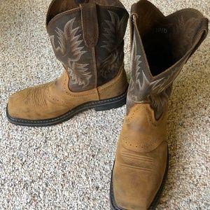 Men's Light Brown Ariat steal toe boots 10.5 D